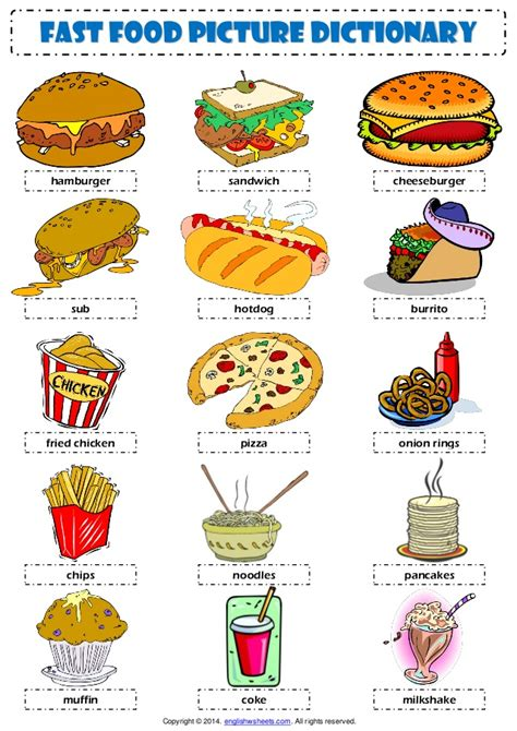 food dictionary fast food vocabulary esl picture dictionary worksheet