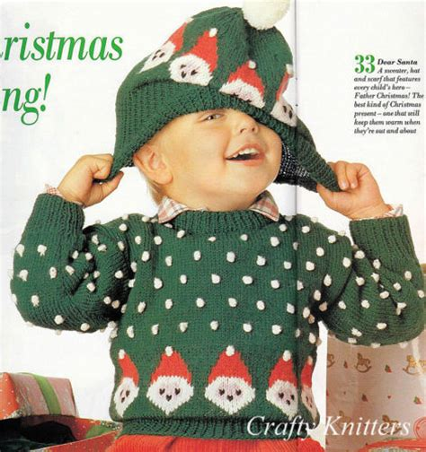knitting pattern christmas jumper free knitting pattern children s christmas jumper hat ebay