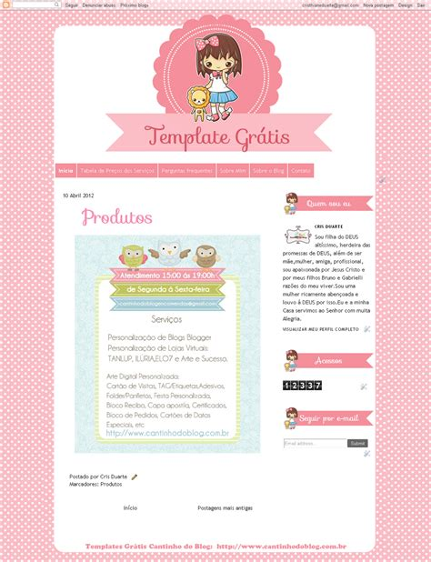 Templates Para Blogger Gratis | template gr 225 tis colegial doll cantinho do blog