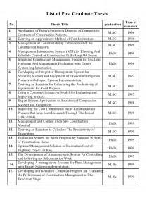 Phd Thesis Topic List Of Post Graduate Thesis In Engineering Project Management