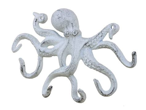 Wholesale Nautical Decor Suppliers by Buy Rustic Whitewashed Cast Iron Octopus Hook 11 Inch