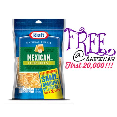 20000 Grocery Giveaway - free kraft natural shredded cheese at safeway affiliates first 20 000