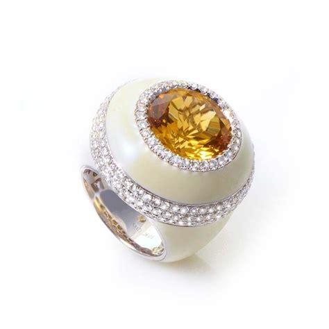 18k white gold enamel citrine ring