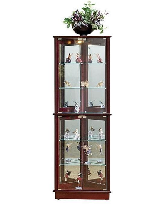 alcove 3 sided corner curio cabinet cherry sota