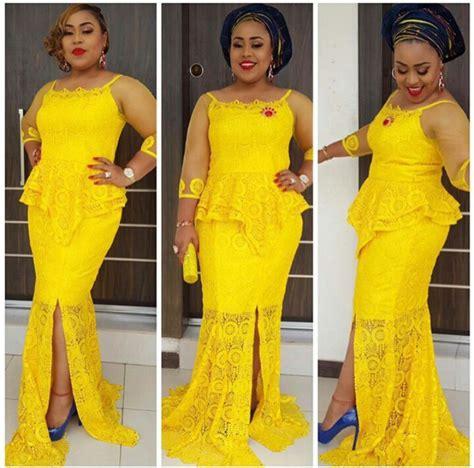 aso ebi styles yellow 10 beautiful yellow cord lace aso ebi styles to rock