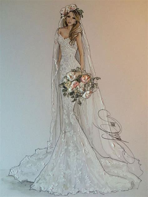 braut zeichnung drawn wedding dress clothes pencil and in color drawn