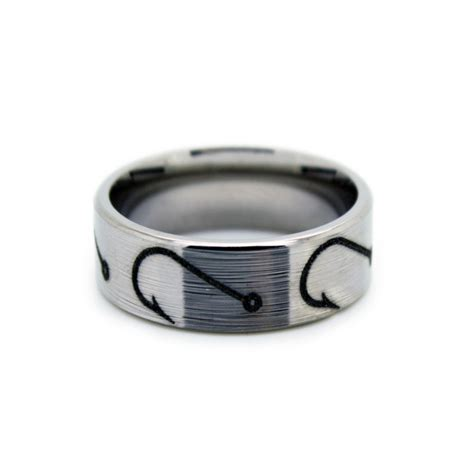 fishing hook wedding rings fish hook band by one camo