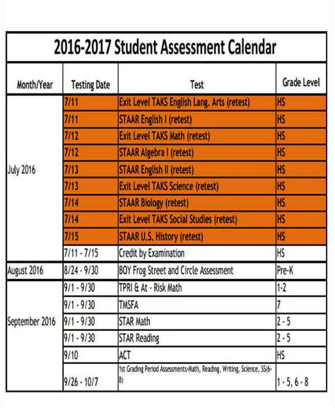 9 assessment calendar templates exles in word pdf
