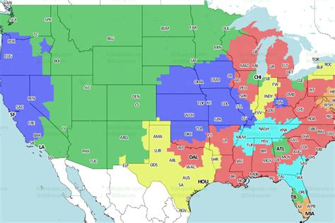 denver broncos vs san diego chargers tv broadcast map
