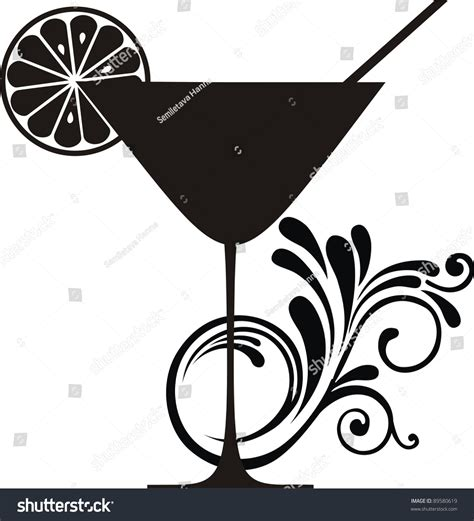 cocktail party silhouette cocktail drink silhouette isolated on white stock