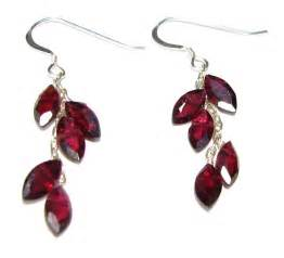 ear rings images designs sterling silver garnet leaf earrings