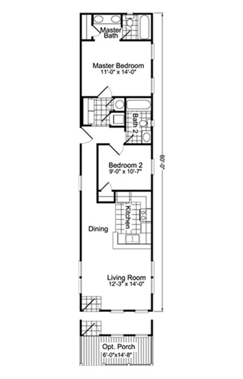 home design 15 x 60 view the hibiscus floor plan for a 880 sq ft palm harbor
