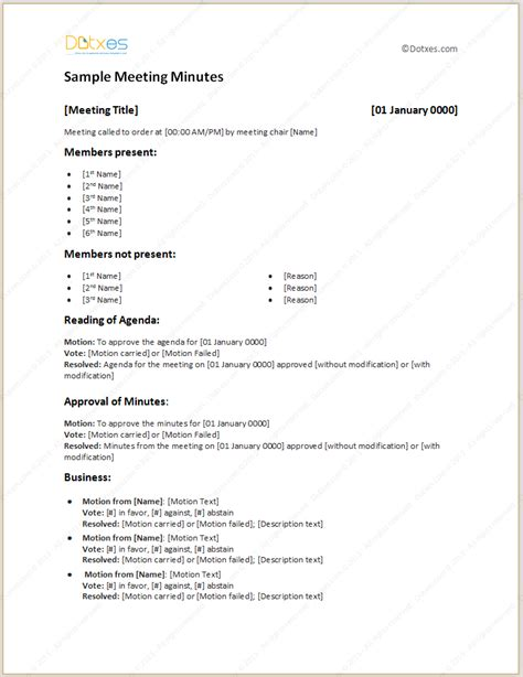 exles of minutes of a meeting template sle meeting minutes light format dotxes