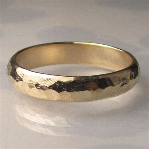 Men's Gold Wedding Band   4mm Recycled 14k Yellow Gold