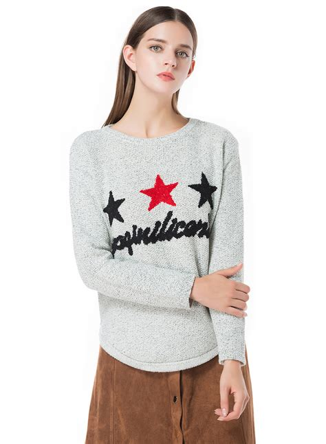 star pattern knit sweater star printed knit pullover sweater novashe com