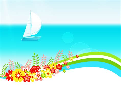 Summer Day With Flowers Powerpoint Templates Blue Flowers Holidays Free Ppt Backgrounds Free Ppt