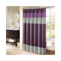 purple and gray ring top shower curtain beside