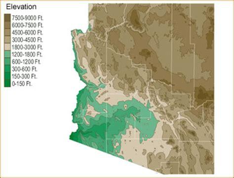 arizona elevation map map of arizona lakes streams and rivers