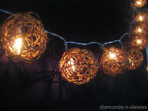 20 Natural Brown Wicker Rattan Ball Battery Operated Led Rattan String Lights