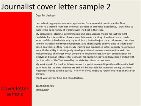 Journalist Resume Cover Letter by Journalist Cover Letter