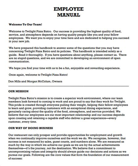 employee handbook template word sle employee manual template 8 documents in pdf