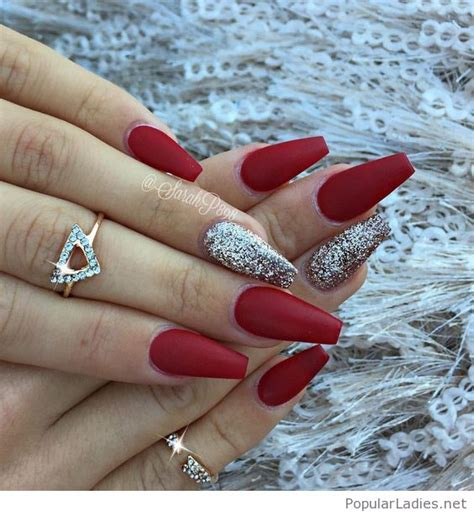 cool red matte nails  silver glitter