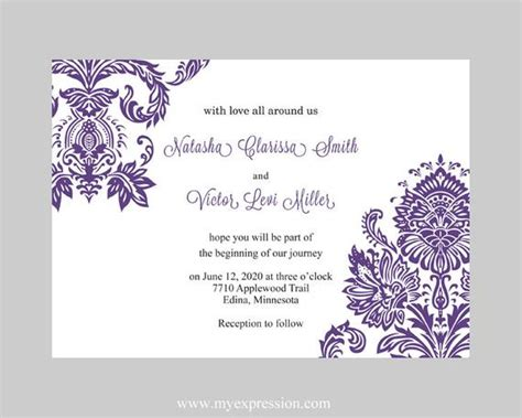 Wedding Invitation Template Purple Damask By Myexpressionshop Wedding Invitation Templates Word Document