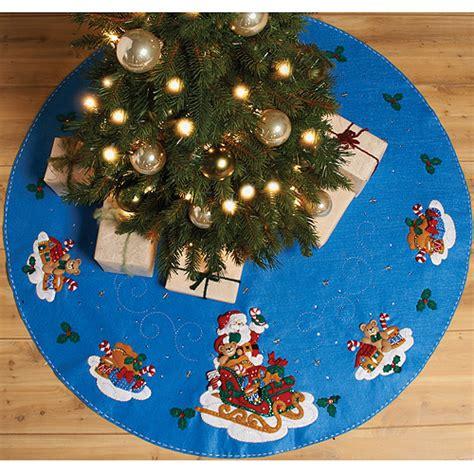 bucilla felt applique tree skirt kit santa bucilla santa his sleigh tree skirt felt applique kit
