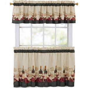 mainstays vineyard 3 kitchen curtain set walmart