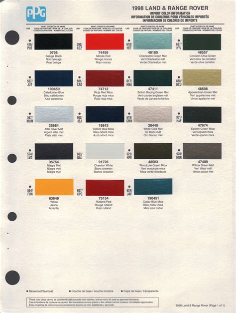 range rover colour chart paint chips 1998 land rover