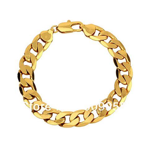 Free Shipping Good Quality 24Kgp Gold Plated 12mm MEN Bracelet Link Chain Bracelett!! (Size