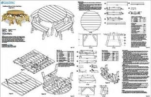classic round picnic table set plans pattern odf13 ebay