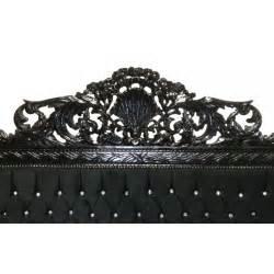 lit baroque tissu velours noir avec strass et bois laqu 233 noir