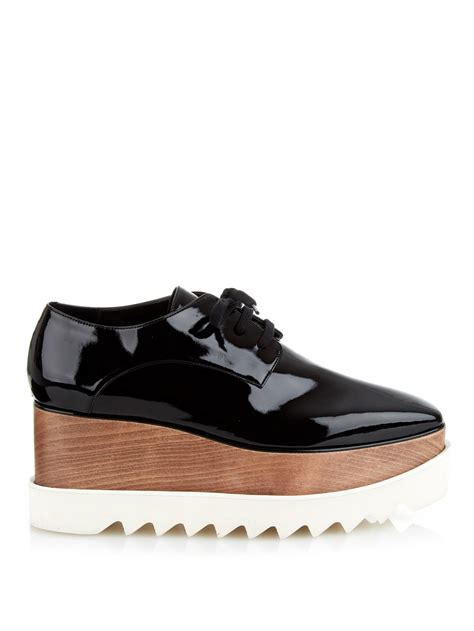 stella mccartney elyse lace up platform shoes in black lyst