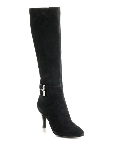 calvin klein dayleen suede boots in black black suede lyst