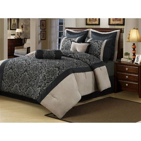 cream bedding set 8pc lush gray black cream damask floral w velvet trim