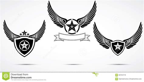 tattoo logo template wing abstract emblem set logo template badge label icon