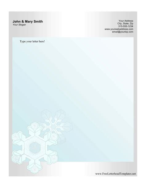 Snowflake Personal Letterhead Personal Stationery Letterhead Templates