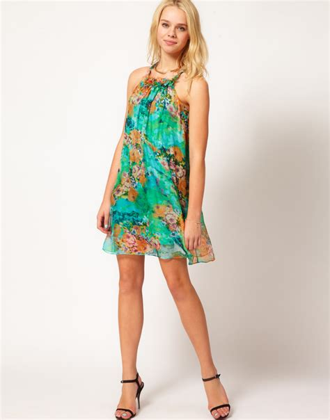 silk swing dress traffic people silk swing dress in watercolour bloom print