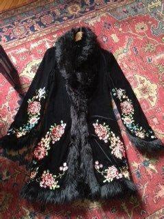 Shireen Dress Velvet vintage betsy johnson embroidered velvet faux fur evening