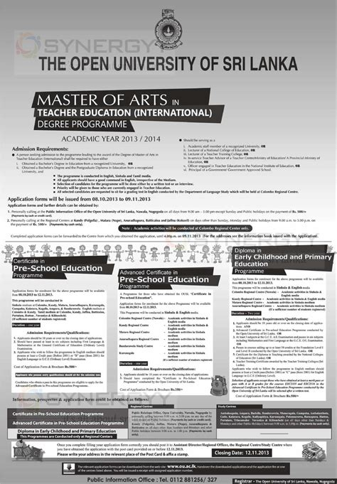 Open Mba Courses In Sri Lanka by Master Of Arts In Education International Degree
