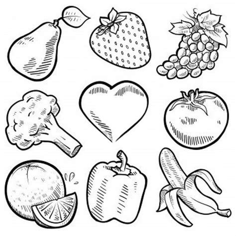 Fruits And Vegetables Nine Healthy Vegetables For Fruits And Vegetables Coloring Page