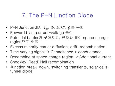 forward bias pn junction diode ppt ppt 7 the p n junction diode powerpoint presentation id 38432