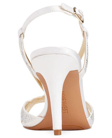 mid heel white sandals nine west illona mid heel evening sandals in white white