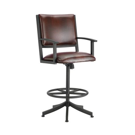 Swivel Bar Stool With Arms Furniture Black Wrought Iron Swivel Bar Stools With Arms And Back Also Black Leather Seat