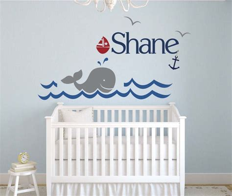 Nursery Wall Mural Decals Custom Whale Name Vinyl Wall Sticker Home Decoration Nursery Pvc Wall Decals Wall Mural Wall