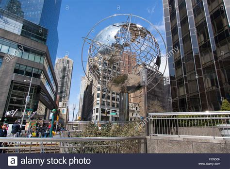 Trump World Tower stainless steel globe at columbus circle outside trump