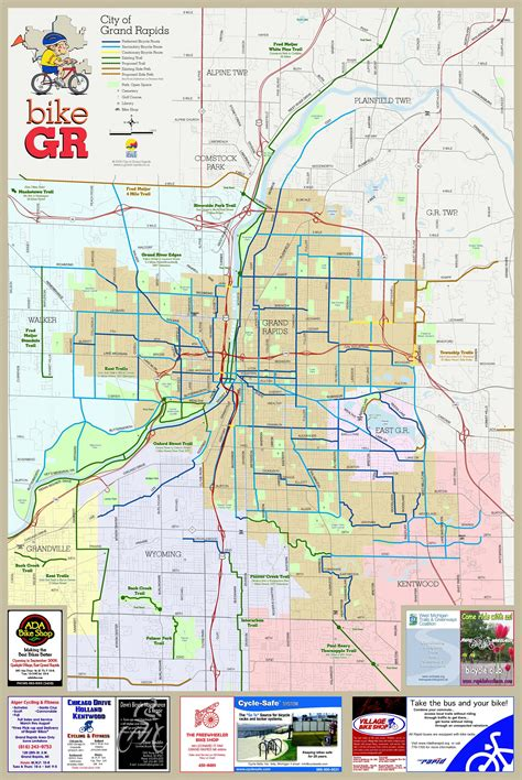 map of grand grand rapids bike map grand rapids michigan mappery