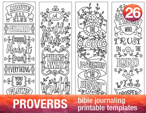 Proverbs 4 Bible Journaling Printable Templates Illustrated Christian Faith Bookmarks Black Free Bible Journaling Templates
