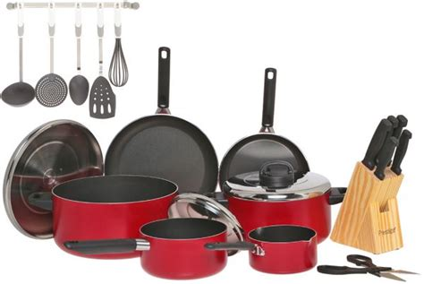 Rating Kitchen Cabinets prestige aluminum non stick cookware set of 22 pieces red